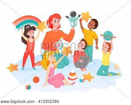 Teacher And Preschool Children Read Book Together Vector Illustration. Cartoon Young Happy Woman Cha