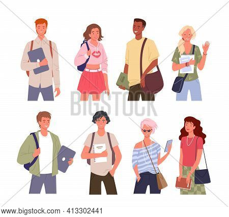 Student Young Multinational People Diversity Vector Illustration Set. Cartoon Young Man Woman Divers