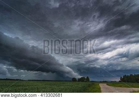 Storm Clouds With Hail And Intence Winds