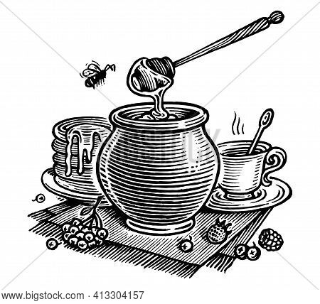 Honey Still Life, Vector Illustration. Vintage Graphics And Handwork. The а Pot Of Honey, A Bee, A C