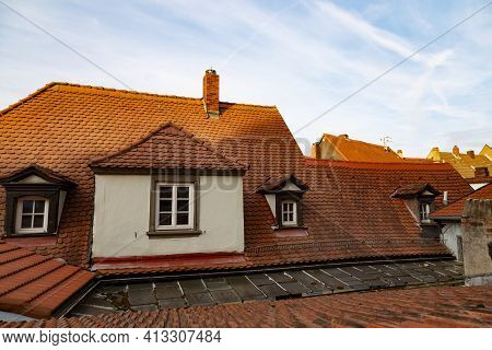 Colorful Roofs Of Ancient Houses Of  Town Bamberg, Unesco World Heritage Site. Germany. Elements Of