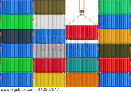 Stack Metal Shipping Cargo Containers. Delivery Of Cargo Shipping. Crane With A Container In Harbor.