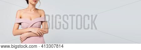 Cropped View Of Fiancee In Elegant, Pink Dress Isolated On Grey, Banner.