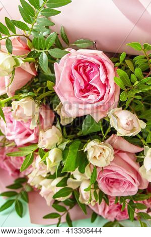 Mothers Day, Womens Day Or Birthday Greetings Concept. Beautiful Bouquet Of Blooming Delicate Pink R