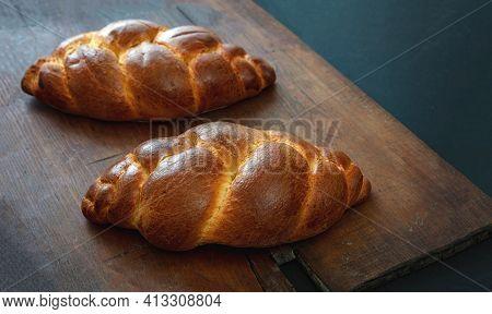 Easter Tsoureki Braid, Greek Easter Sweet Bread, On Wooden Background