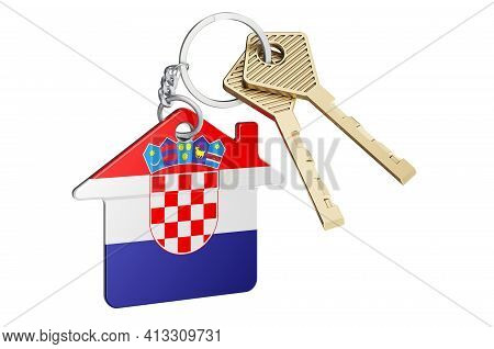 Real Estate In Croatia. Home Keychain With Croatian Flag. Property, Rent Or Mortgage Concept. 3d Ren