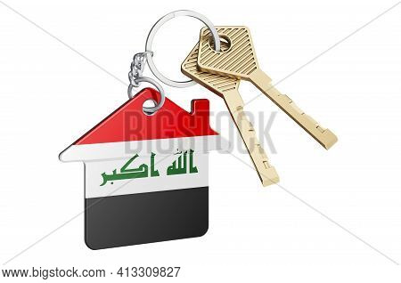 Real Estate In Iraq. Home Keychain With Iraqi Flag. Property, Rent Or Mortgage Concept. 3d Rendering