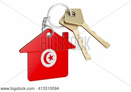 Real Estate In Tunisia. Home Keychain With Tunisian Flag. Property, Rent Or Mortgage Concept. 3d Ren