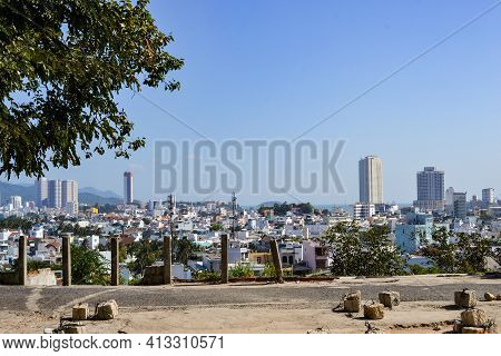 Nha Trang, Vietnam - January 24, 2020: Aerial View Of The Downtown