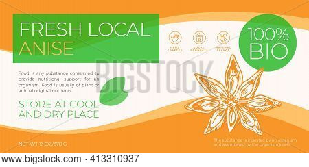 Fresh Local Label Template. Abstract Vector Packaging Horizontal Design Layout. Modern Typography Ba