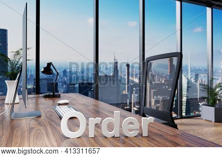 Order; Office Chair In Front Of Modern Workspace With Computer And Skyline View; Online Banking Conc