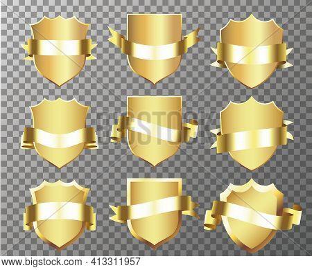 Gold Banner Ribbons. Retro Vintage Golden Badges And Labels Collection. Festive Colorful Tag Design