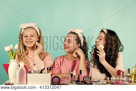 Beauty Portrait Of Three Children With Natural Make Up And Healthy Skin. Happy Childrens Day. Three