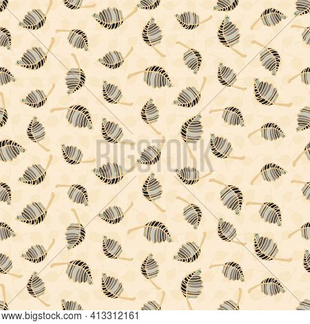 Leaves Toss Seamless Vector Pattern On Pale Yellow