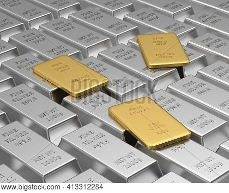 Rows Of Silver Bars With A Few Thin Gold Bars On Top. 3d Illustration