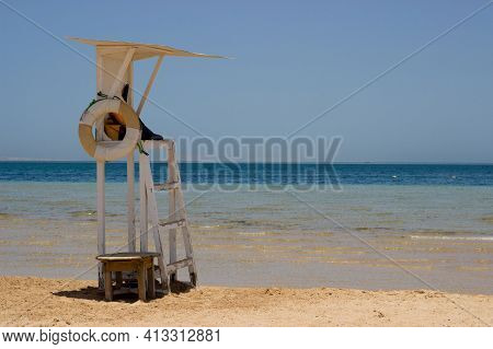 Baywatch Chair Wooden Lookout Post On The Beach