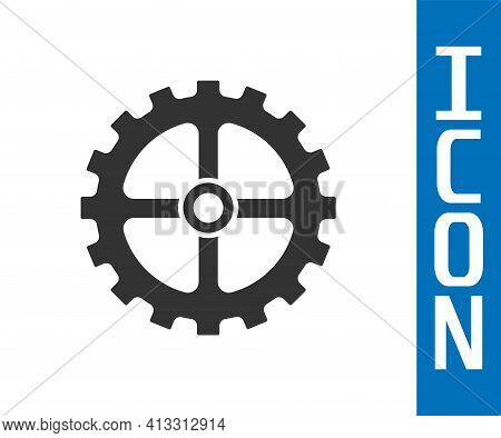 Grey Bicycle Sprocket Crank Icon Isolated On White Background. Vector