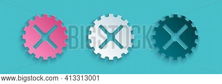 Paper Cut Bicycle Sprocket Crank Icon Isolated On Blue Background. Paper Art Style. Vector