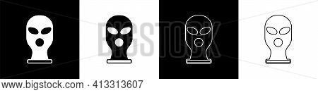 Set Balaclava Icon Isolated On Black And White Background. A Piece Of Clothing For Winter Sports Or