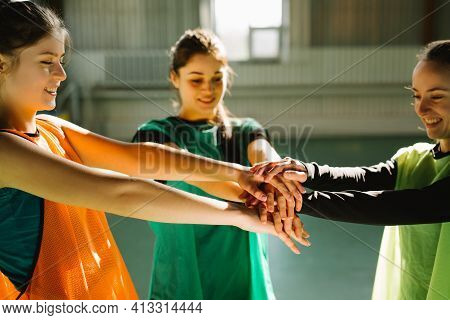 Hand For Work Together Concept, Hand Stack For Team Service, Volunteer Or Teamwork Togetherness, Con