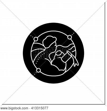 Aquarius Glyph Icon. Eleventh Fire Sign In Zodiac. Water Bearer Birth Symbol. Mystic Horoscope Sign.