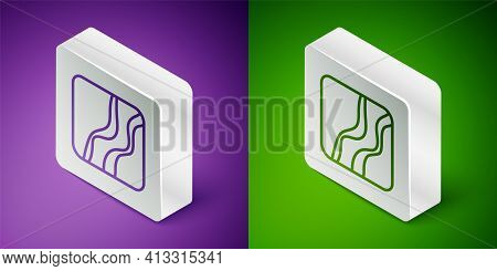 Isometric Line Snake Paw Footprint Icon Isolated On Purple And Green Background. Silver Square Butto