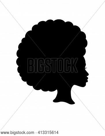 Black Afro African American Girl Woman Lady Vector Portrait Profile Head Face Silhouette With Natura