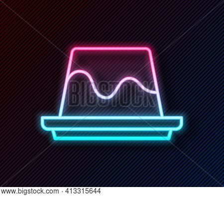 Glowing Neon Line Pudding Custard With Caramel Glaze Icon Isolated On Black Background. Vector
