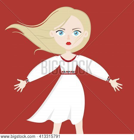 Sad Belarusian Woman In White, Vector Illustration