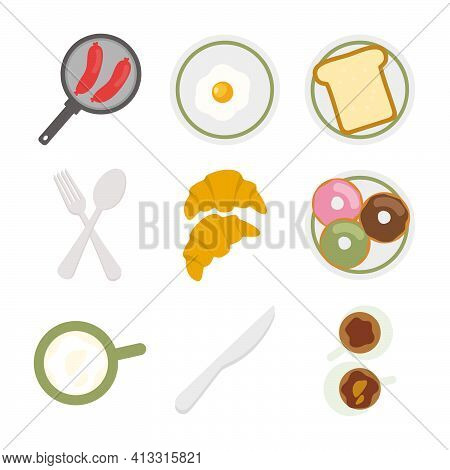 A Breakfast Themed Flat Design Vector Containing Several Illustrations Of Breakfast Dishes
