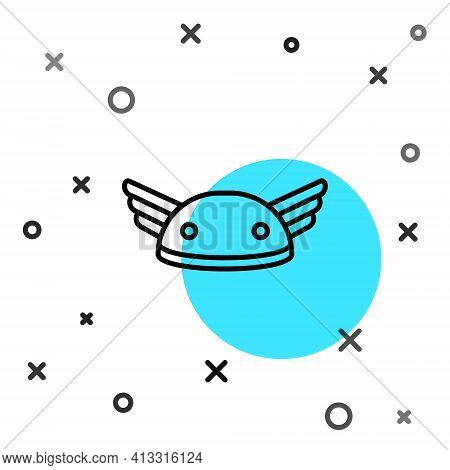 Black Line Helmet With Wings Icon Isolated On White Background. Greek God Hermes. Random Dynamic Sha