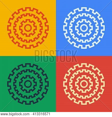 Pop Art Line Bicycle Cassette Mountain Bike Icon Isolated On Color Background. Rear Bicycle Sprocket
