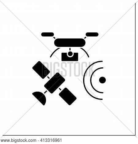 Drones Photography Glyph Icon. Provide In-depth And Varied Data For Their Clients. Used For Classifi