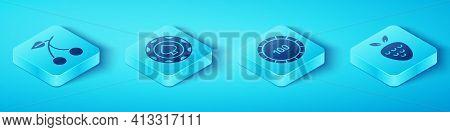 Set Isometric Casino Slot Machine With Cherry, Casino Chips, Casino Slot Machine With Strawberry And