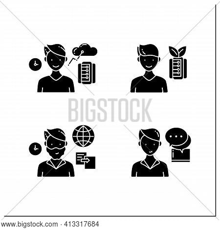 Information Overload Glyph Icons Set. Consists Of Instant Messaging, Data Duplication, Information E
