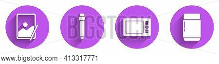 Set Graphic Tablet, Pencil With Eraser, Graphic Tablet And Eraser Or Rubber Icon With Long Shadow. V