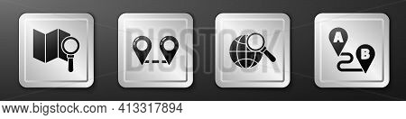 Set Search Location, Route Location, Magnifying Glass With Globe And Route Location Icon. Silver Squ