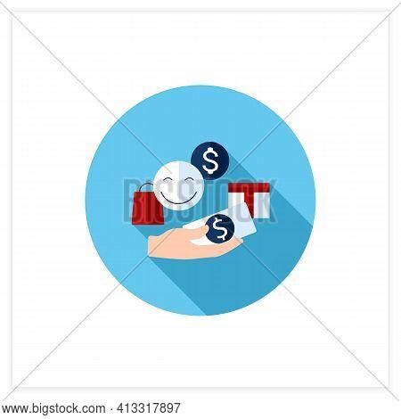 Designate Guilt-free Spending Money Flat Icon. Hand Holds Money. Happy Emoji. Thoughtful Spending Mo
