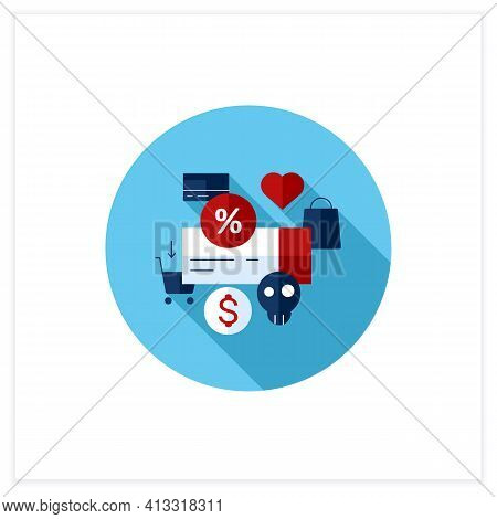 Dependence On Discounts Flat Icon. Sales. Discounts Love. Mindful Spending Concept.vector Illustrati