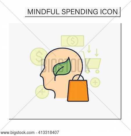 Green Thinking Color Icon. Conscious Things Consumption. Thinking About Nature. Ecological Shopping.