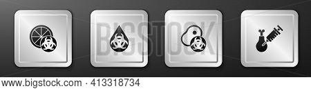Set Genetically Modified Orange, Gmo, Meat And Gmo Research Chicken Icon. Silver Square Button. Vect