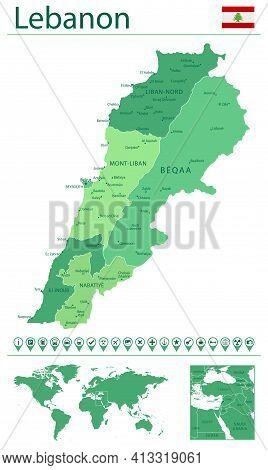 Lebanon Detailed Map And Flag. Lebanon On World Map.