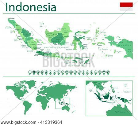 Indonesia Detailed Map And Flag. Indonesia On World Map.