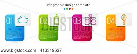 Set Line Sushi, Firework, Firework And Yin Yang. Business Infographic Template. Vector