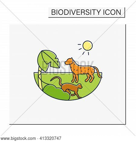 Tropical Rainforest Color Icon.humid And Warm Place.located Near The Equator.living Place For Danger