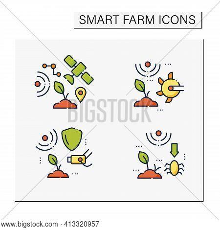 Smart Farm Line Icons Set. Consist Of Iot Sensors, Soil Tilling, Cctv, Pests And Weeds Elimination.a