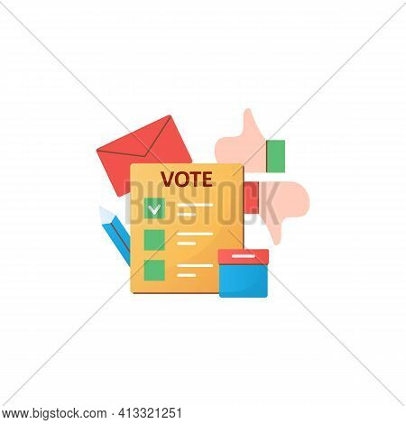 Election Flat Icon. Voting Form, Ballot Or Checklist With Check Mark. Choice, Vote Concept. Democrac