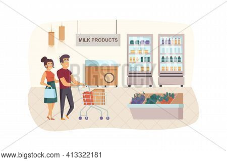 Couple Shopping At Supermarket Scene. Man And Woman Buying Milk Products In Grocery Store. Family Da