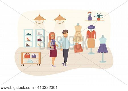 Couple Shopping In Clothing Store Scene. Man And Woman Buying Stylish Clothes, Shoes And Bags. Buyer