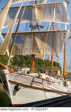 August 16, 2017, Klaipeda, Lithuania.big Ship Meridian In Klaipeda With Sails On A Summer Day On The